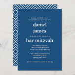 """Navy Blue Modern Bar Mitzvah II Invitation<br><div class=""""desc"""">This modern invitation features bold white lettering on the front and a modern pattern on the back.  Use the template form to add your custom text.  The Customize feature can be used to change the font,  layout and colors.</div>"""