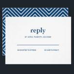 "Navy Blue Modern Bar Mitzvah White Reply Card<br><div class=""desc"">This trendy insert card features bold lettering on the front and a modern pattern on the back.  Add your text using the template form.  Change the font,  layout and colors using the Customize feature.</div>"
