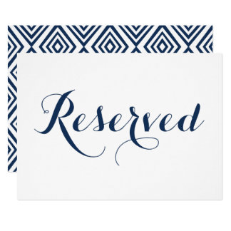 Navy Blue Modern Calligraphy Reserved Wedding Sign Card