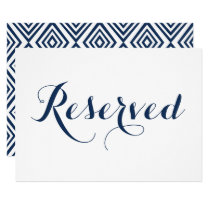 Navy Blue Modern Calligraphy Reserved Wedding Sign Invitation