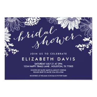 Navy Blue Modern Floral Bridal Shower 5x7 Paper Invitation Card