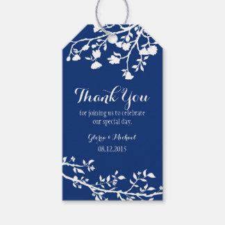 Navy Blue Modern Flower Wedding Thank You Tags