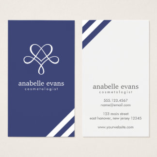 Navy Blue Modern Heart and Swirls Business Card