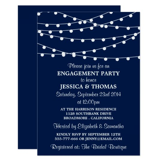 Navy Blue Modern String Lights Engagement Party Card | Zazzle