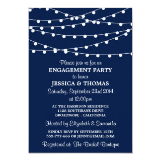 Navy Blue Modern String Lights Engagement Party Card