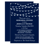 Navy Blue Modern String Lights Rehearsal Dinner Card at Zazzle