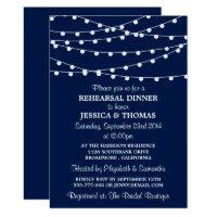 Navy Blue Modern String Lights Rehearsal Dinner Card