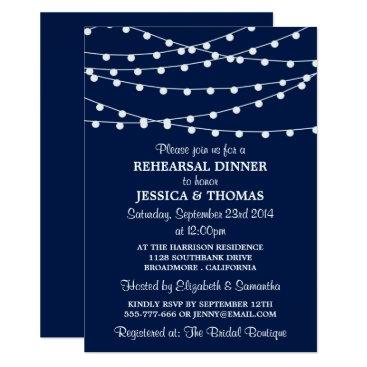 Invitation_Republic Navy Blue Modern String Lights Rehearsal Dinner Card