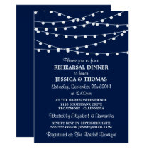 Navy Blue Modern String Lights Rehearsal Dinner Invitation