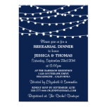 Navy Blue Modern String Lights Rehearsal Dinner 5x7 Paper Invitation Card