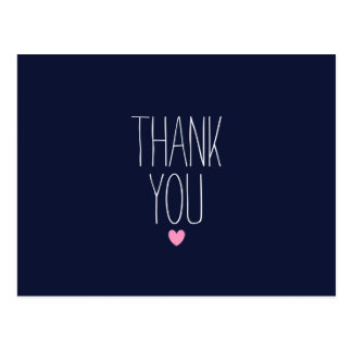 Navy blue modern thank you postcard