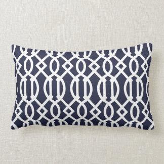 Navy Blue Modern Trellis Pattern Lumbar Pillow