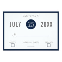 Navy Blue Modern Wedding Invitations rsvp