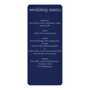 Navy Blue Modern Wedding Menu 4x9.25 Paper Invitation Card