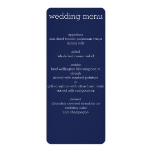 Navy Blue Modern Wedding Menu 4x9.25 Paper Invitation Card