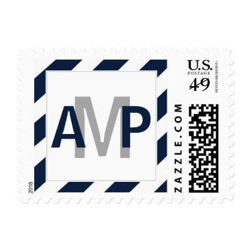 Navy Blue Modern Wedding Monogram Stamps