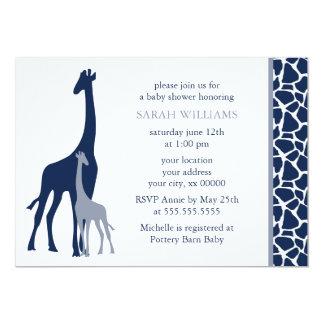 Navy Blue Mom and Baby Giraffe Baby Shower Card