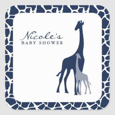 heartlocked Navy Blue Mom and Baby Giraffe Square Sticker