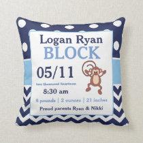 Navy Blue Monkey Baby Announcement Pillow
