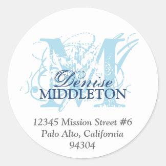 Navy blue monogram antique grunge address label