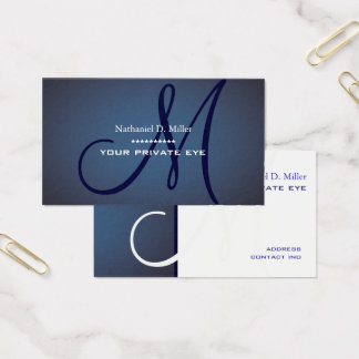 Navy blue monogram business card