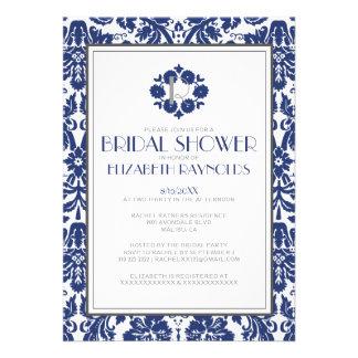 Navy Blue Monogram Damask Bridal Shower Invitation Personalized Invite