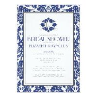 Navy Blue Monogram Damask Bridal Shower Invitation