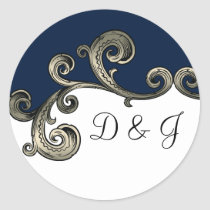 """navy blue"" monogram envelope seal"