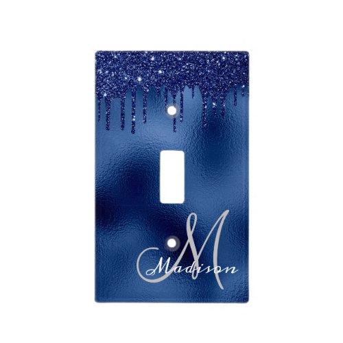 Navy Blue Monogram Glitter Drips Pretty Sparkle Light Switch Cover