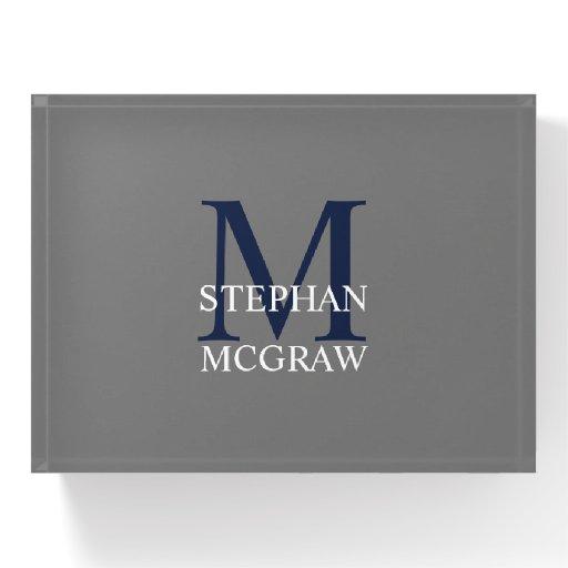 Navy Blue Monogram Gray Paperweight