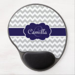 Navy Blue Monogram Grey Chevron Pattern Gel Mouse Mats