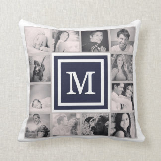 Navy Blue Monogram Instagram Photo Collage Pillows