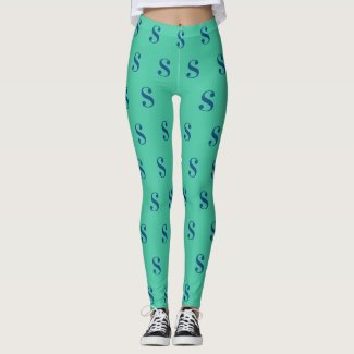 Navy Blue Monogram Pattern on Green Leggings