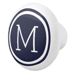 Navy Blue Monogram Personalized Drawer Knob