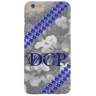 Navy Blue Monogram Rhinestone Faux Gems Floral Art Barely There iPhone 6 Plus Case