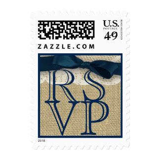 Navy Blue Monogram Ribbon and Burlap RSVP Postage Stamps