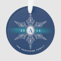 Navy Blue Monogram Snowflake Christmas Ornament