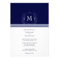 Navy Blue Monogram Wedding Invitations
