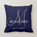 Navy Blue Monogram Wedding Keepsake Throw Pillow