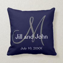 Navy Blue Monogram Wedding Keepsake Throw Pillow
