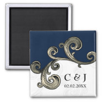 """navy blue"" monogram wedding save the date magnets"
