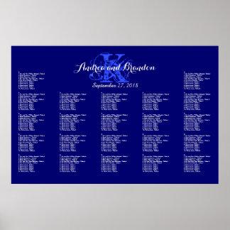 Navy Blue Monogram Wedding Seating Chart Poster