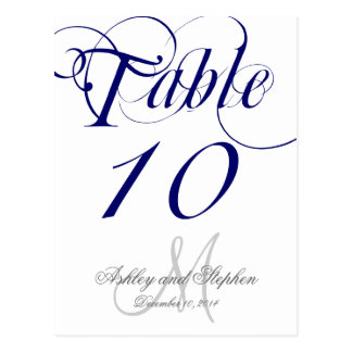 Navy Blue Monogram Wedding Table Number Card