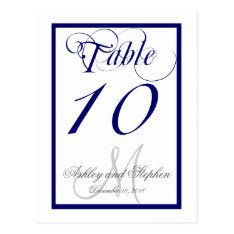 Navy Blue Monogram Wedding Table Number Card 2 at Zazzle
