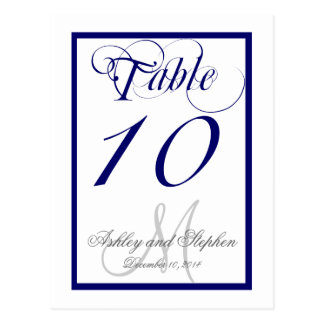 Navy Blue Monogram Wedding Table Number Card 2