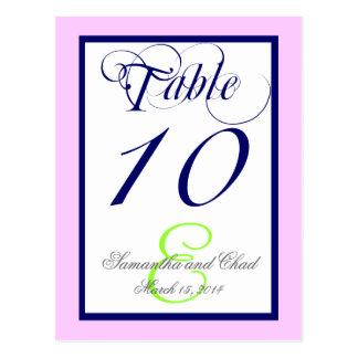 Navy Blue Monogram Wedding Table Number Card 2 Post Card
