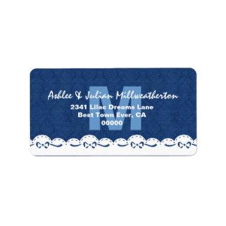Navy Blue Monogram White Lace Wedding M482F Personalized Address Label