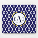 Navy Blue Monogrammed Barcelona Print Mouse Pad