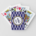 Navy Blue Monogrammed Barcelona Print Bicycle Playing Cards