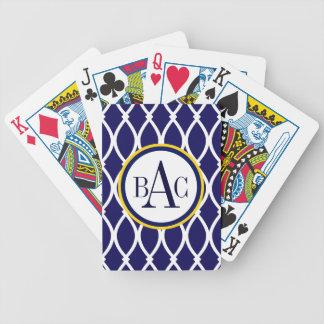 Navy Blue Monogrammed Barcelona Print Poker Deck